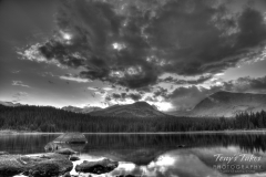 Dramatic black and white mountain sunset