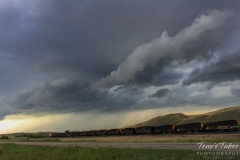 Train rides off into the storm